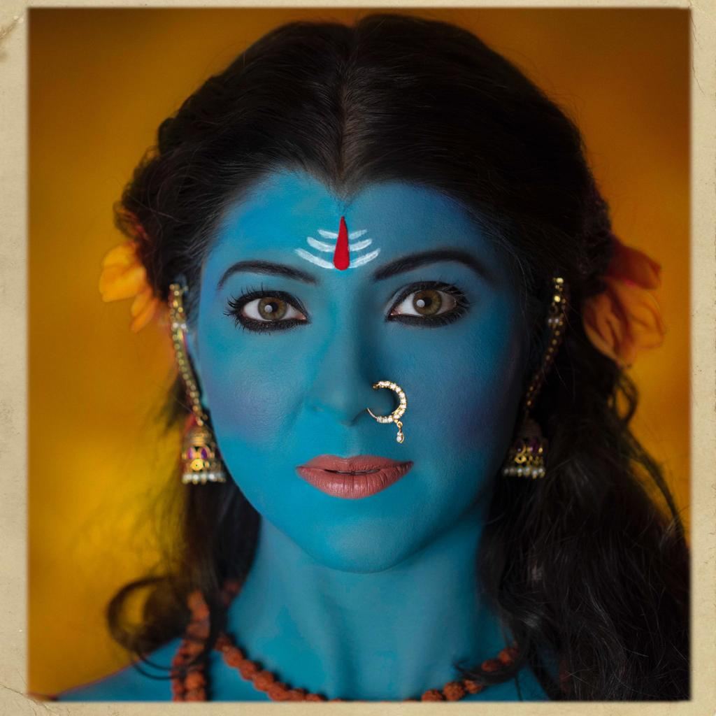 This is my artistic tribute to celebrate the strength, power of femininity with nine days, nine attributes, nine different avatars. ( प्रतिपदा ) Shailaputridevi depicts DEVOTION.