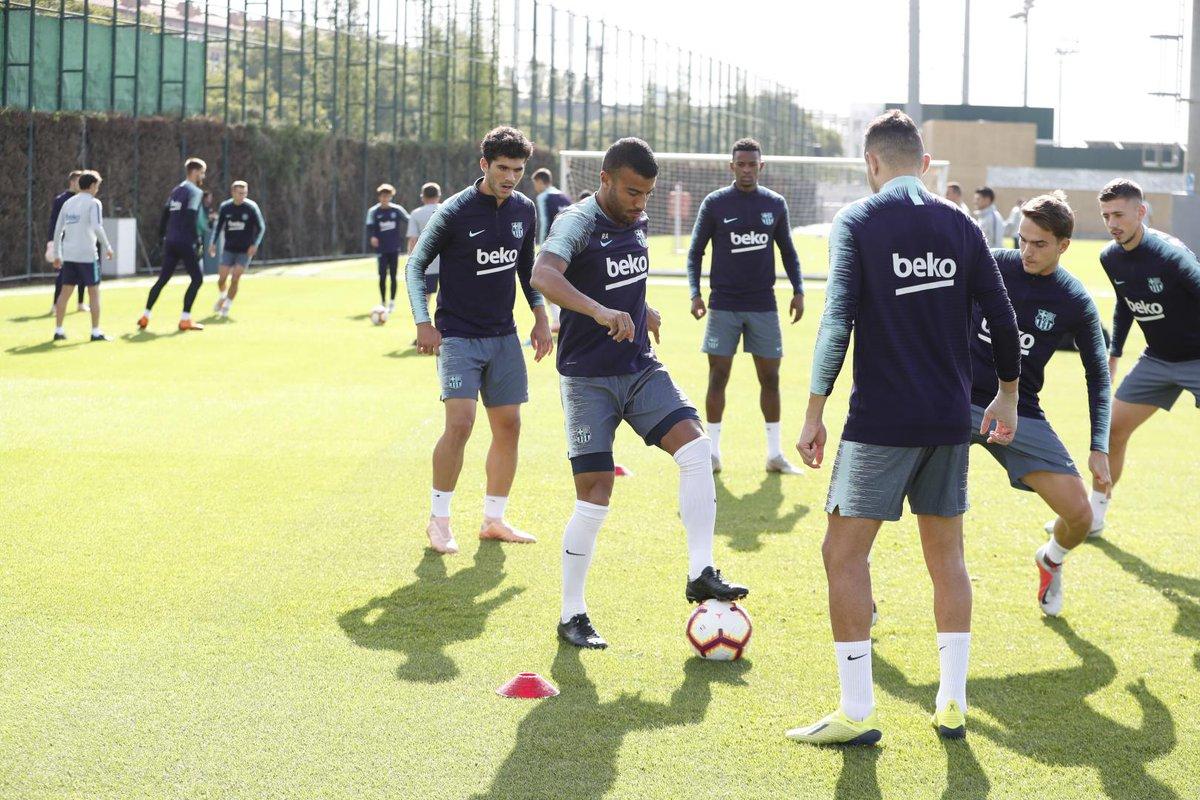 Los jugadores del Barcelona, en la sesión de este miércoles (Foto: FCB).