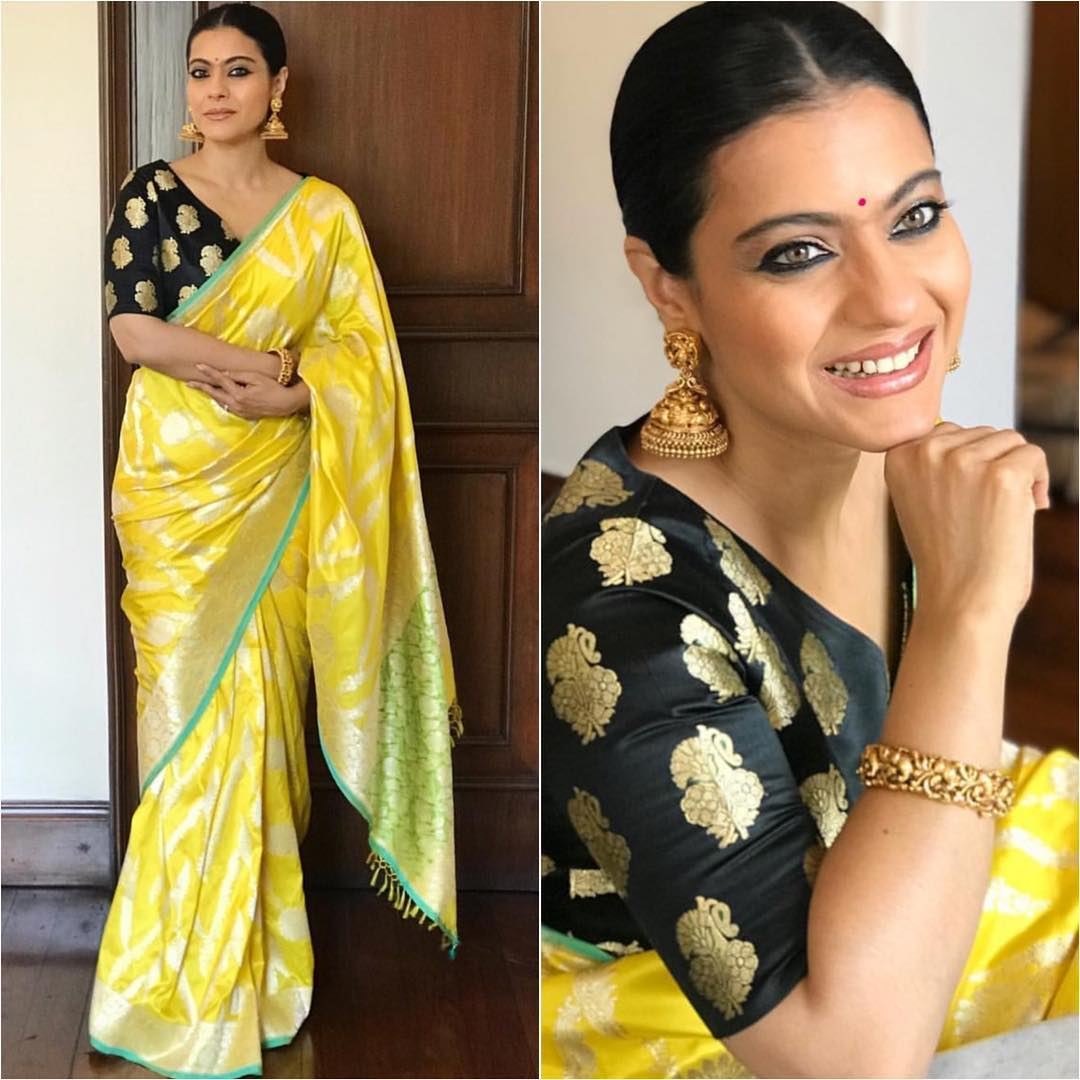 And Is Looking Radiant In A Pattu Sari Blouse Bhindi Jhumkas Will Give You Spiffy Look Perfect For Dasara Bollywood SariSwag