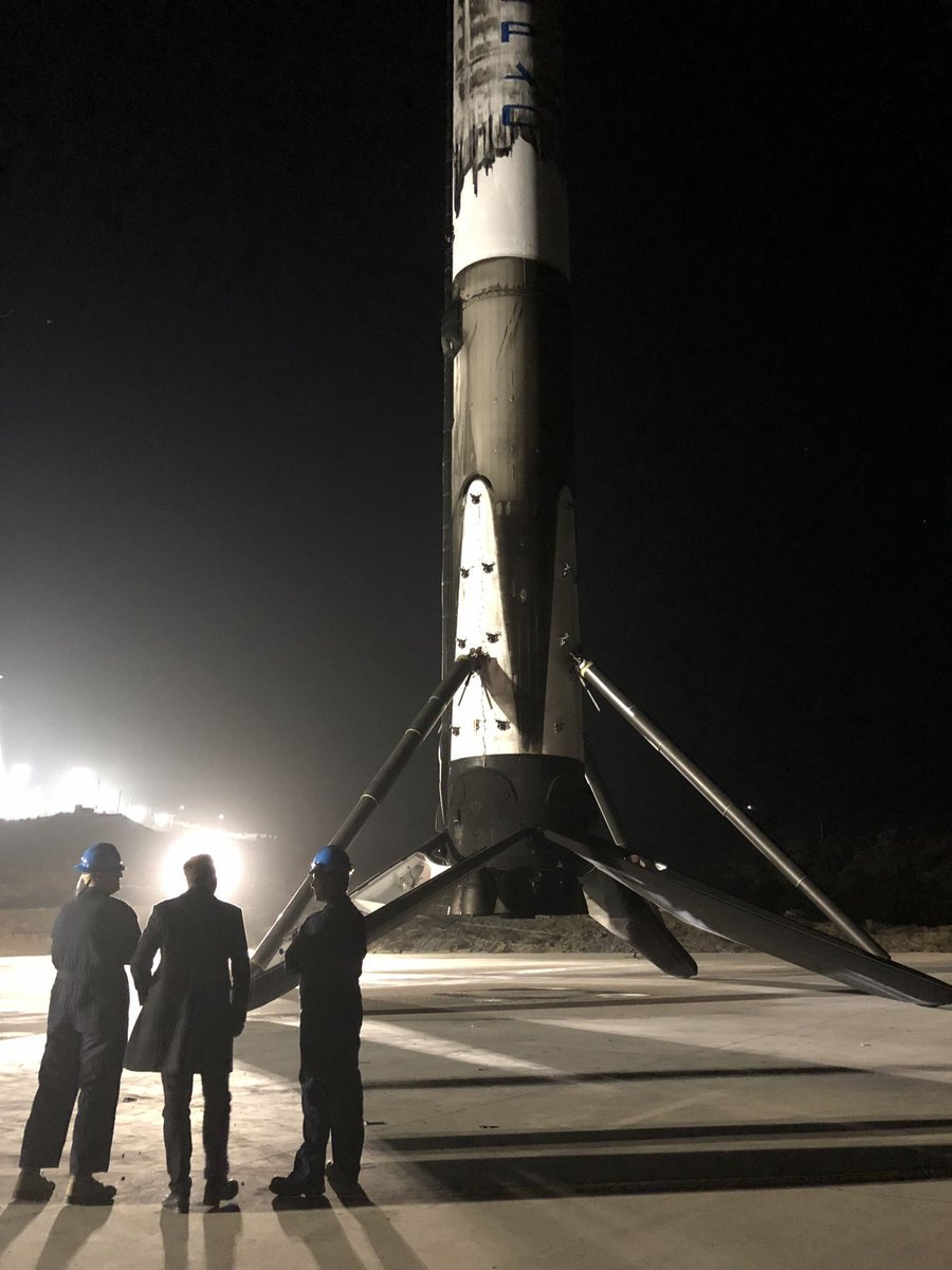 At Falcon LZ-1 Vandenberg on Sunday night with the Base Commander. Support of @USAirForce much appreciated.