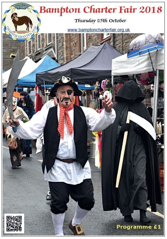 BAMPTON CHARTER FAIR Thursday 25th Oct. The Fair programme is now on sale in the town, and will be available free for each car using the car parks on the day. Lots of info and additional articles!