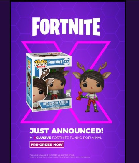 12 characters to choose from including the game store exclusive red nose reindeer vinyl save s when you trade in your old games fortniteseason6 - funko pop fortnite reindeer