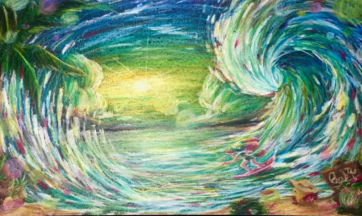 Surfing with Daybreak  #イラスト #色鉛筆 #風景画<br>http://pic.twitter.com/o2vmWt9r4N