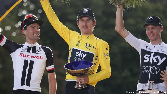 Team Sky says Geraint Thomas' Tour de France trophy was stolen at a cycling event in Britain. #TDF2018