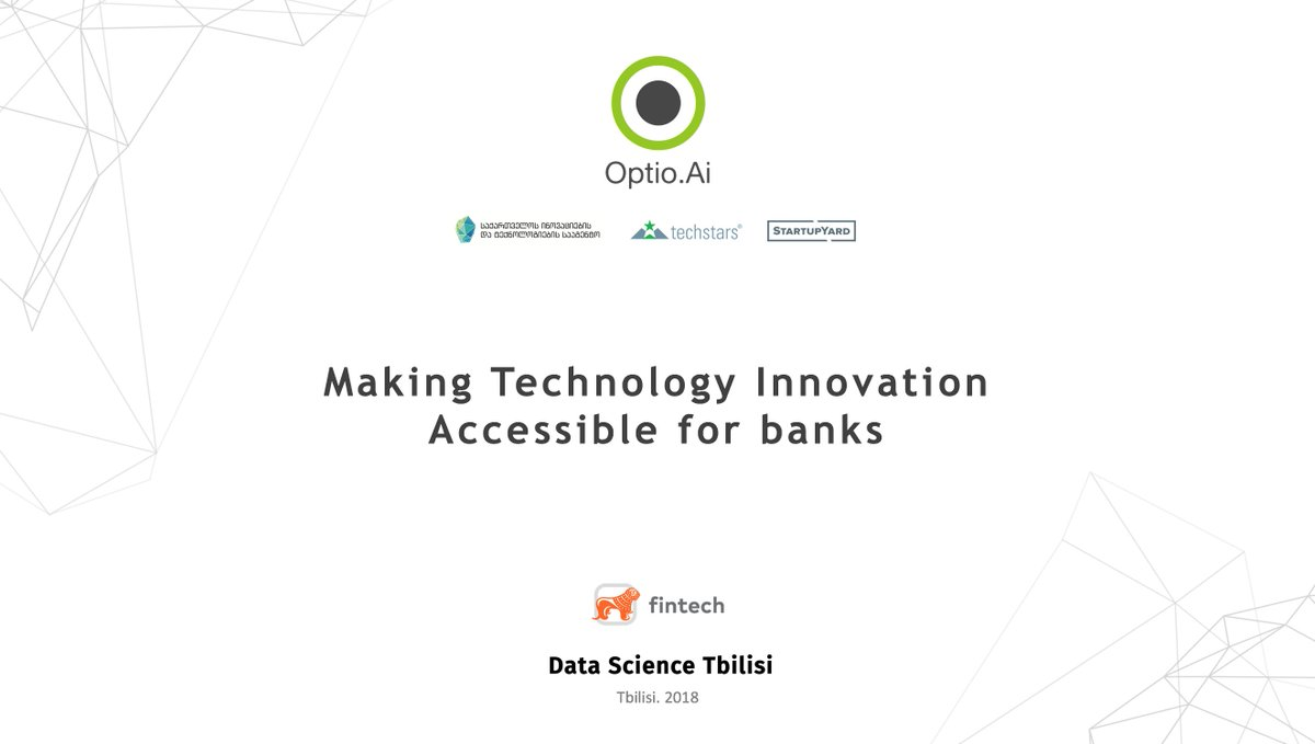 "Last Thursday, we have hosted a #meetup organized by #BoG_Fintech and #DataScienceTbilisi under the headline ""Making Technology Innovation accessible for Banks"" ✨  Thanks for the wonderful audience and a great initiative! #fintech #startup #tbilisi #DataScience #innovation"