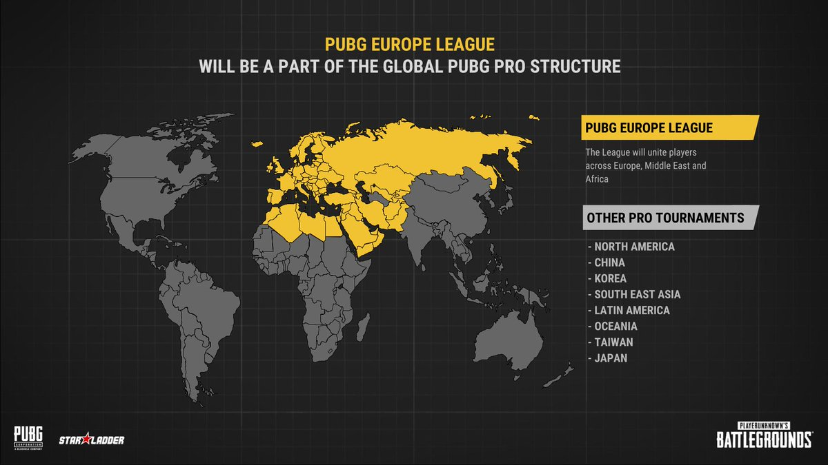 PUBG Corp. and StarLadder to launch first European professional league for PLAYERUNKNOWN'S BATTLEGROUNDSⓇ commencing January 2019! #PUBG  PUBG leagues will consist of a combined annual prize value of €1,000,000.  Learn more on: http://bit.ly/starladder_pel_en…