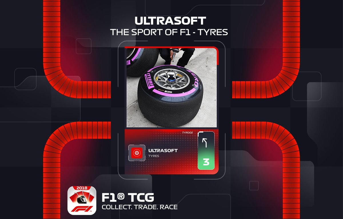 With @pirellisport #Fit4F1Testing taking place in Suzuka, a new #F1 collection launches today, focusing on tyres.  First up is the purple-coloured Ultrasoft. This new card is available to find now in all packs.