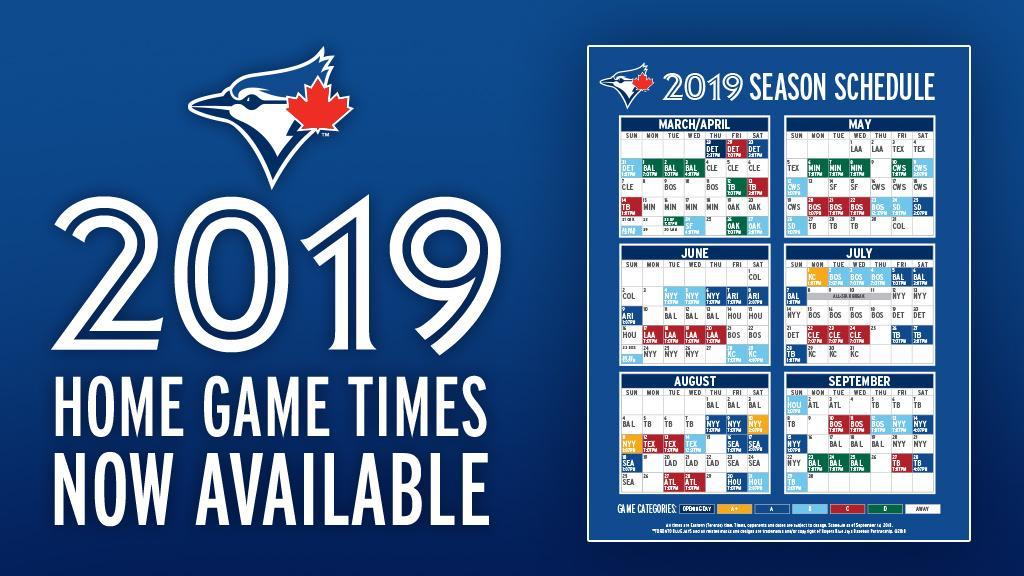 blue jays game schedule 2019