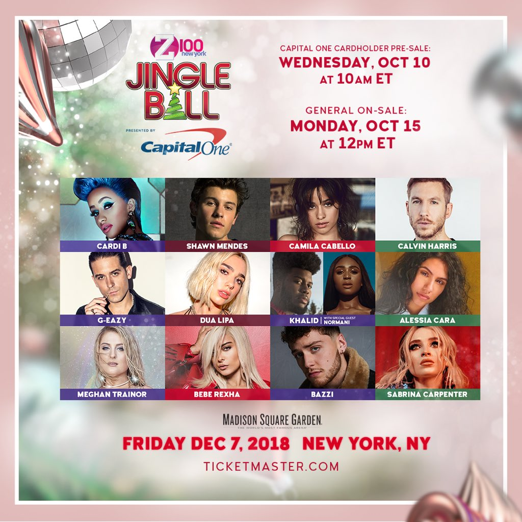 1 HOUR till our 10am #Z100JingleBall @CapitalOne cardholder pre-sale!  https://t.co/FkYbX7hy48 to get those tix 🎊