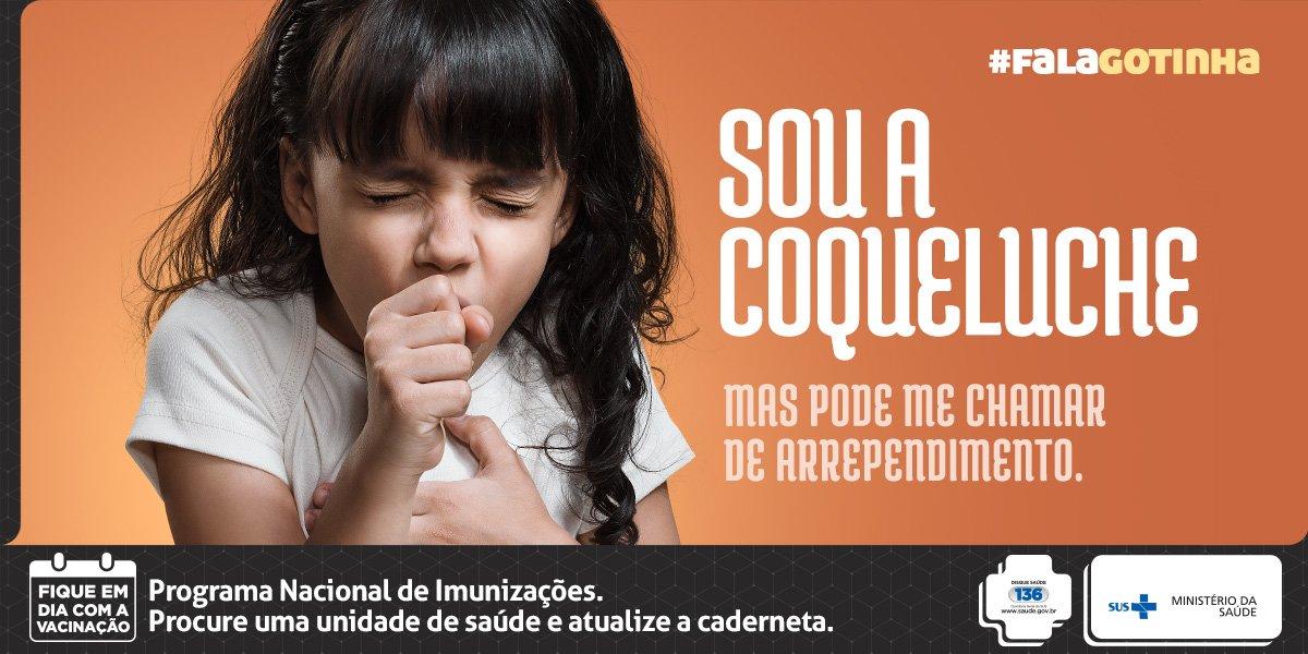 #FalaGotinha - A coqueluche pode causar sequelas graves como insuficiência respiratória. Fique em dia com a vacinação.