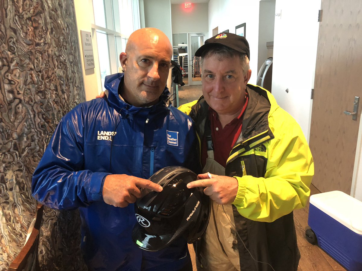 A batter helmet prevented a concussion. #hurricanemicheal2018 category 4 winds blew me into a concrete pillar. @JimCantore then rescued me from tumbling over. @NBCNews @weatherchannel Thank you my friend. You've taught me again, back-up support always needed. <br>http://pic.twitter.com/WrsNE0n6rt