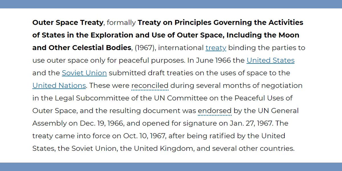 Britannicas Tweet The Outer Space Treaty An International