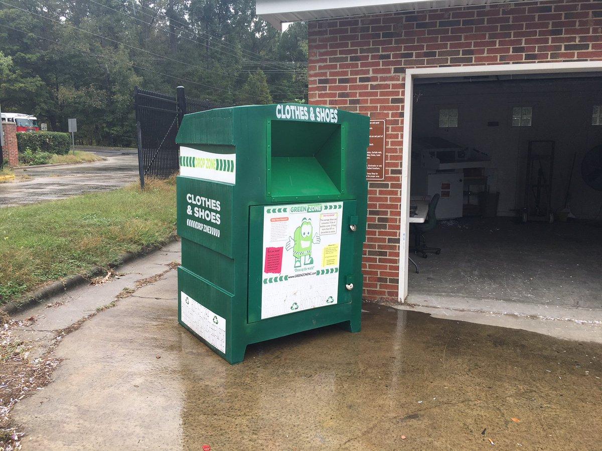 Textile bin beside the City's Swap Shop