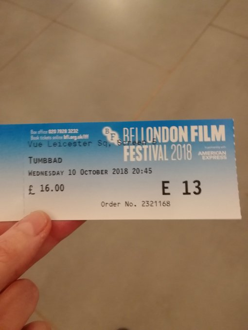 Kicking of the #LFF2018 tonight with Tumbbad, a film I know absolutely nothing about. Photo
