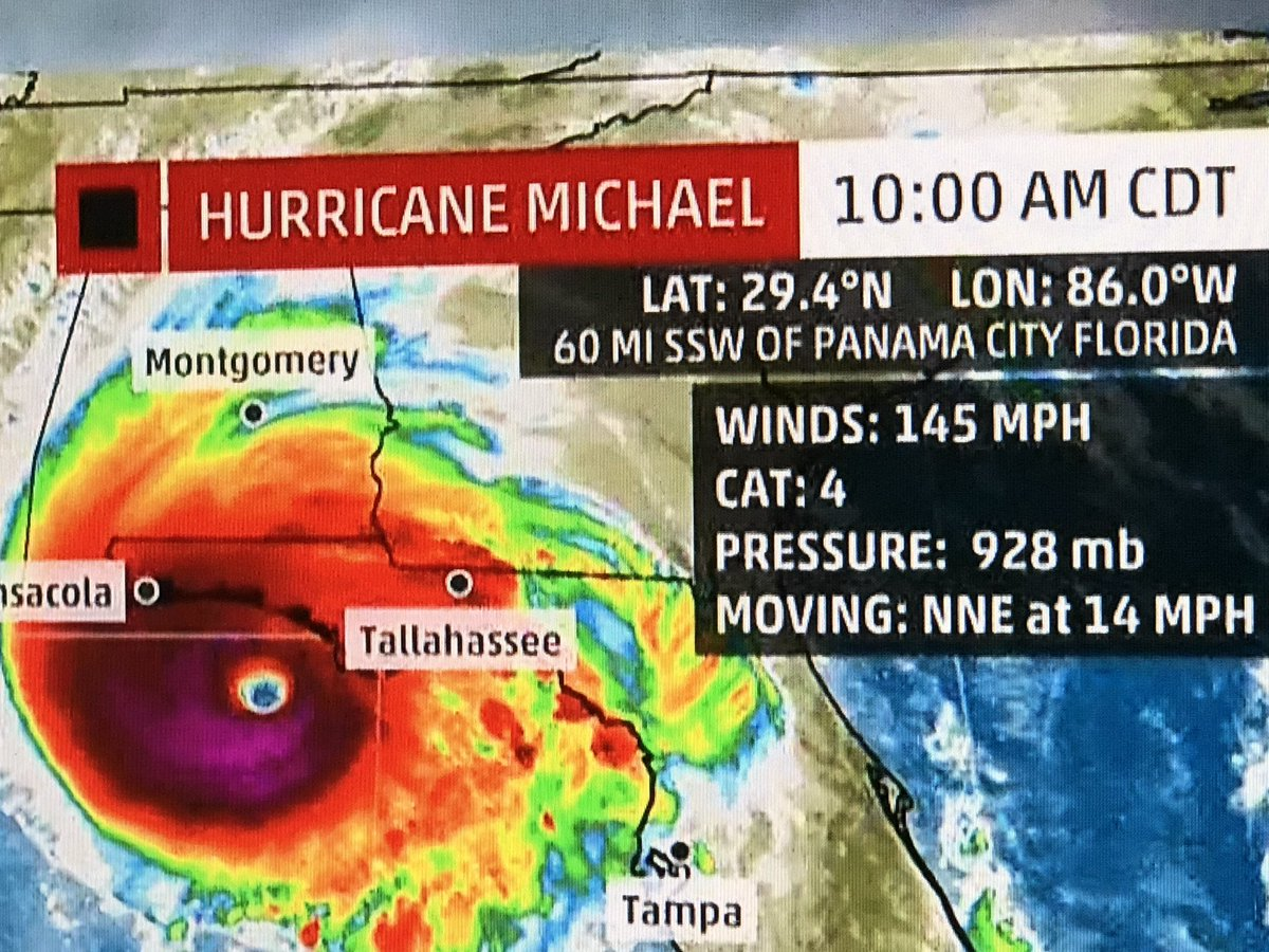 #PrayForFlorida #HuricaneMichael #NewAdvisory We have never seen a #Hurricane this intense to hit the northern gulf coast in our life<br>http://pic.twitter.com/dj16QdsvMC
