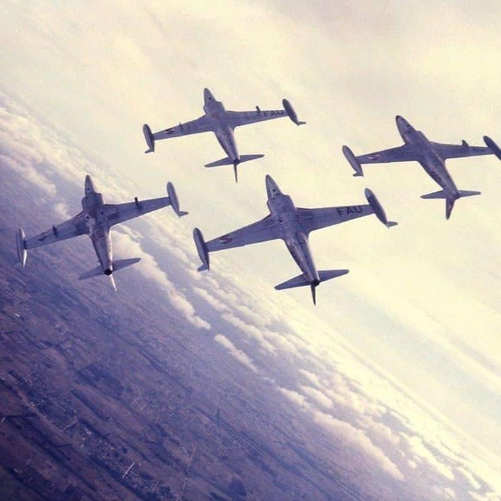 """AviaciónMilitarUy en Twitter: """"LOS COCOS - En el año 1966, en el Grupo de  Aviación N°2 (Caza) de la Fuerza Aérea Uruguaya se formó una escuadrilla de  demostración aérea llamada Cocodrilos, la"""