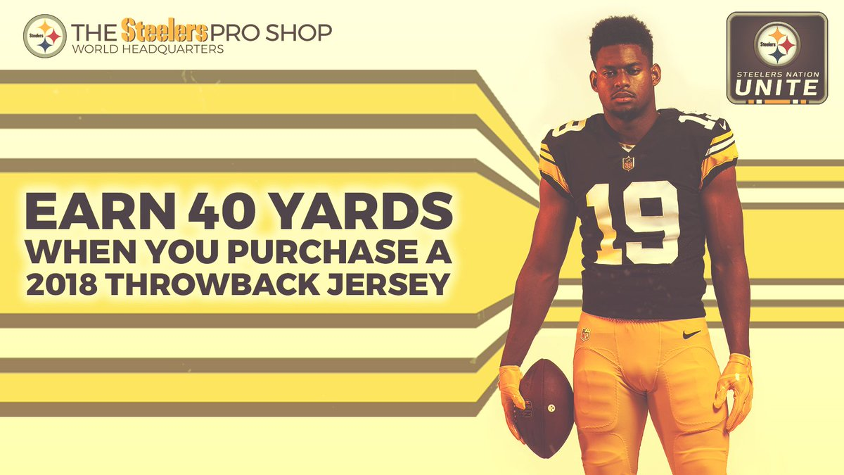 The #Steelers will break out their Throwback Jerseys next Sunday. Right now, you can earn 40 yards when you purchase one at the @SteelersShop! SHOP ≫ stele.rs/qincYc