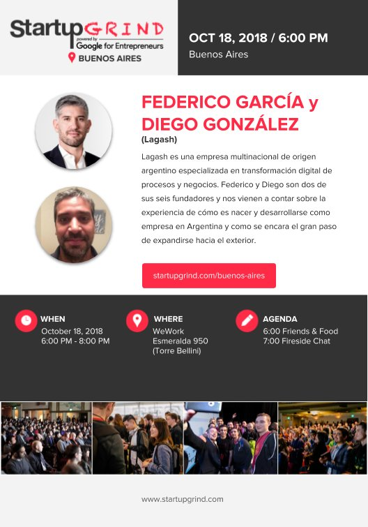 El jueves 18 te esperamos en @WeWork Esmeralda 950 junto a @StartupGrind, dónde @FedexGar, nuestro CEO y @DiegoGCanning, VP de Lagash, estarán hablando sobre la internacionalización de servicios de software. Obtené tus entradas en https://lnkd.in/d5eZ8Tp .#StartupGrindBA #xGem🚀