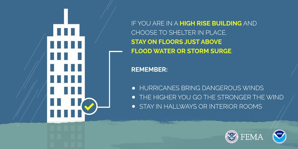 This graphic provides guidance for how to shelter in place when you are in a high-rise building during a hurricane. Stay on floors just above the flood water or storm surge, but do not go to higher floors where the wind is stronger. Stay in a hallway or interior room.