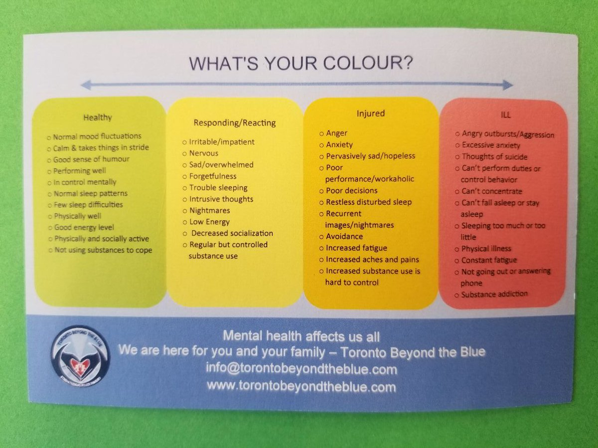 It is &quot;World Mental Health Day&quot; on October 10, 2018. What&#39;s your colour? Self help guide provided by Toronto-Beyond the Blue #WorldMentalHealthDay ^sm <br>http://pic.twitter.com/Fkr4t6Fbfu