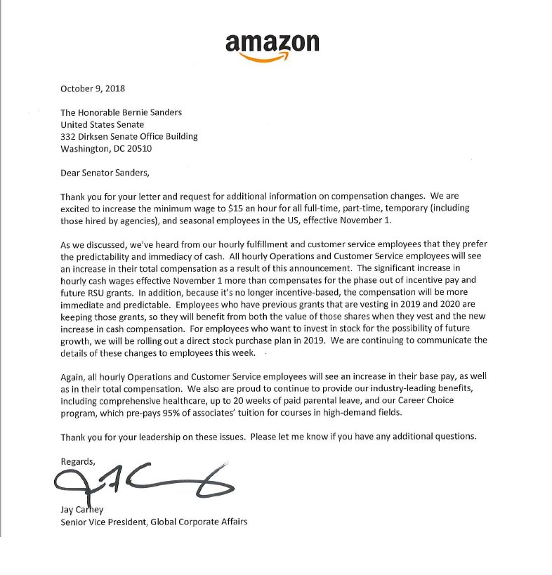 Heather Long A Twitter Scoop Amazon Sent A Letter To