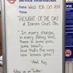 🍃🌸✿ #Thoughtoftheday ✿🌸🍃 from #BaronsCourt Station #WednesdayWisdom 10th October 2018. #WorldMentaHealthDay #WorldMentalHealthDay2018 @towerhilltube @districtline @tflchaplaincy @Oval_station @WestminsterArea @willesdenstaff
