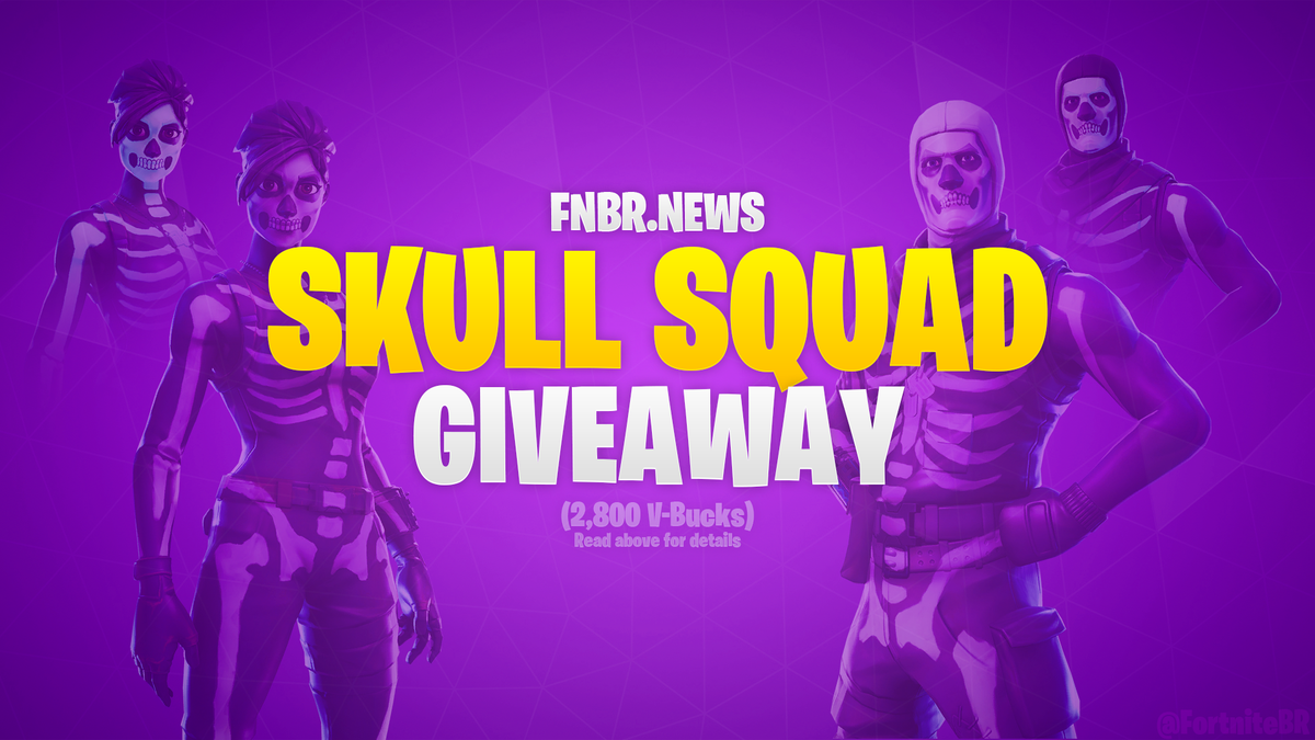 Let's do a quick Skull Squad giveaway. Winner will receive the equivalent of 2,800 V-Bucks (Paypal or a Gift Card) to buy any of the new cosmetics.  - Follow @FortniteBR and @imkairu - Retweet  Ends in 4 hours (12am BST), good luck! #Fortnite
