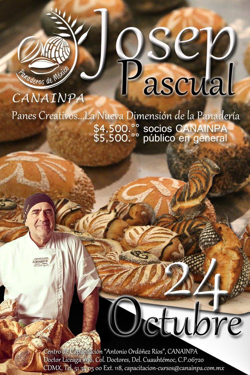 """Josep Pascual uno de los mejores panaderos presenta """"Panes Creativos ... La nueva dimensión de la panadería"""" 🌾   Informes:  📞 ➡️ 51340500, Ext. 118   📧 ➡️capacitacion-cursos@canainpa.com.mx   Te esperamos 🥖#FelizMiercoles @carlosotegui #ComeSanoComePan #ComamosPan"""