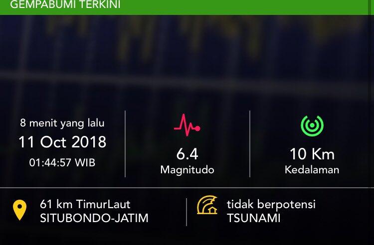 gempa di Situbondo Kamis dini hari 11 Oktober 2018
