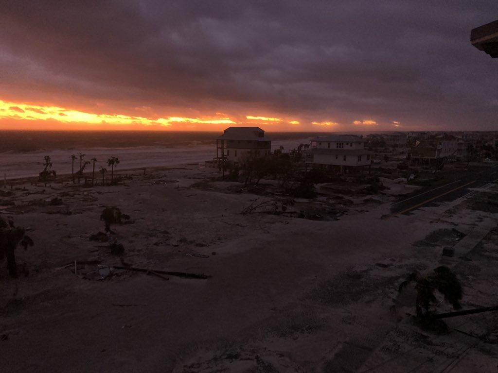 Stunning sunset over devastation in Mexico Beach, Florida.