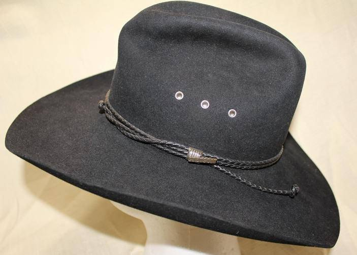 f225e1ae Vintage Stetson 4X Beaver Black Fur Felt Leather Band Western Hat Size 6 7/8  55 cm https://etsy.me/2kFDaii #Etsy #AtticEsoterica #Vintage  #VintageStetson ...