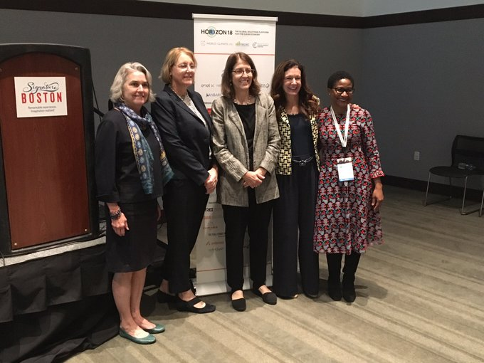 """It was an honor to moderate """"The Women Driving Innovation in the Northeast Clean Energy Economy"""" @Horizon18boston. Well done Carol Grant, Anne Hoskins, Martha Broad, and Penni Conner! Photo"""