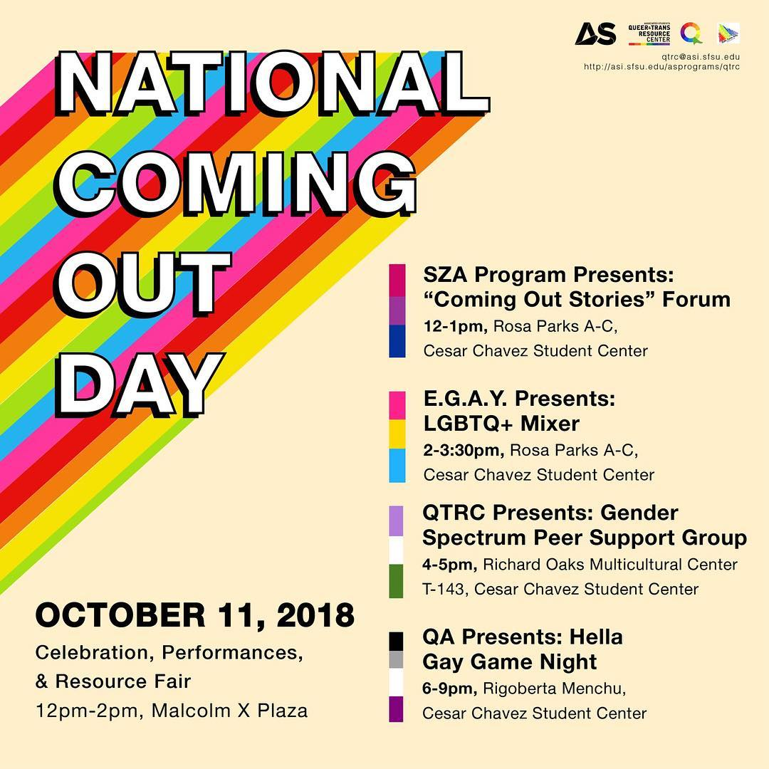 Sf State On Twitter Tomorrow Is National Coming Out Day Sfsu S As Qtrc Has Events Planned Throughout The Day Share Your Coming Out Story With Us And We May Share It On Our