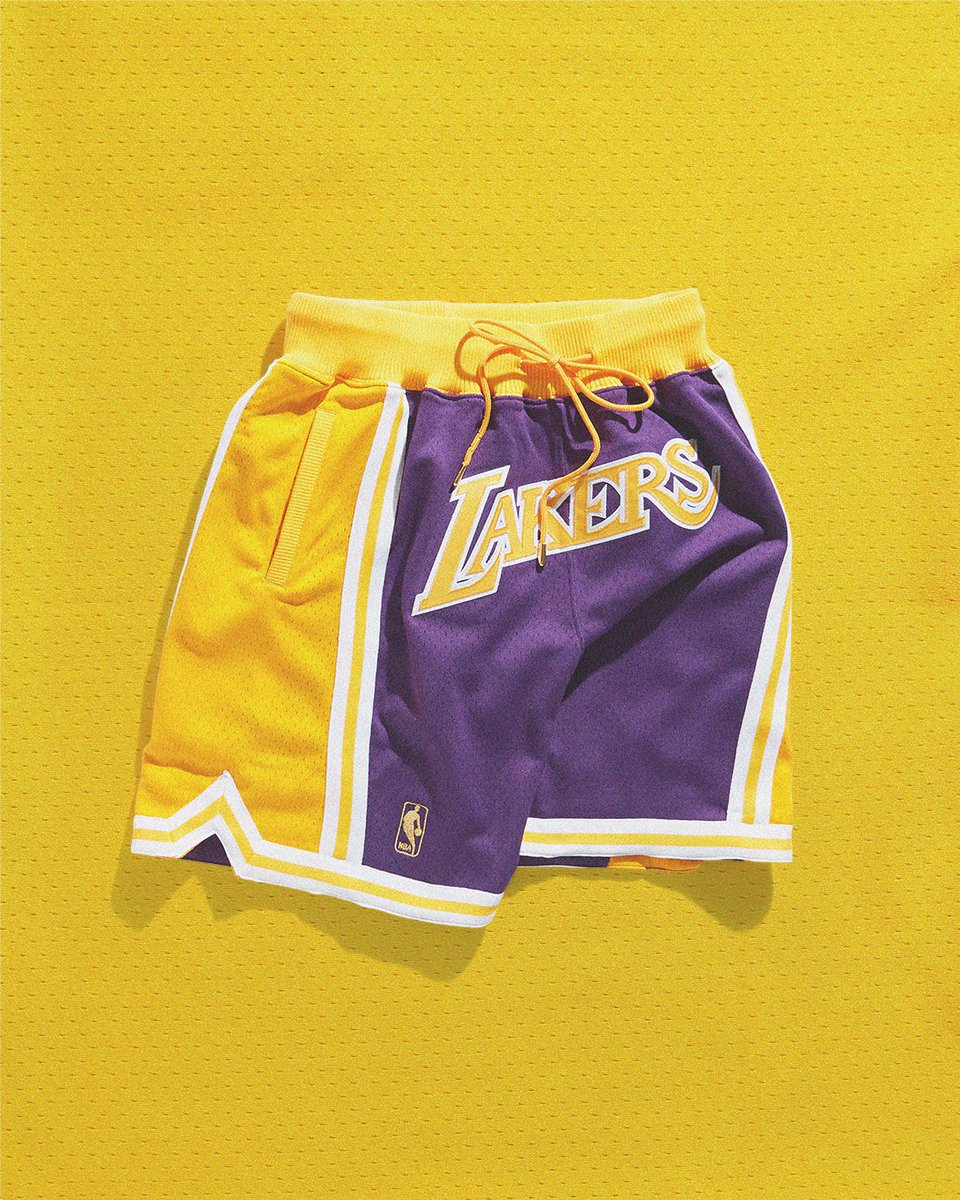 533c05a29a689 Game Ready: Just Don X Mitchell & Ness Los Angeles Lakers Short now  available in-store and online here: https://on.unknwn.com/2ywqMY3 #JustDon  ...