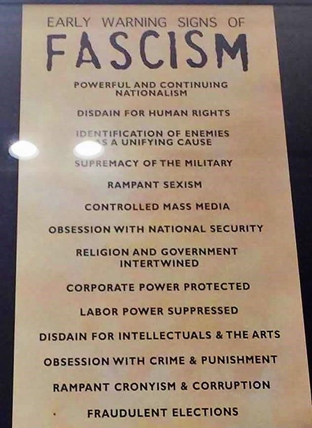 Early Signs Of Fascism >> Lori Sirianni On Twitter This Poster Warning Of The Signs Of