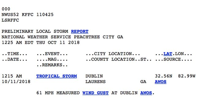 #TropicalStormMichael brought 61 mph wind gust to Dublin, GA. just after midnight. Photo