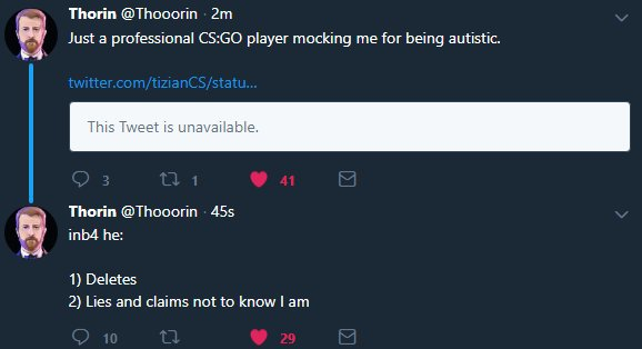Thorin On Twitter Inb4 He 1 Deletes 2 Lies And Claims Not To Know I Am We looked inside some of the tweets by @thorin and here's what we found interesting. twitter