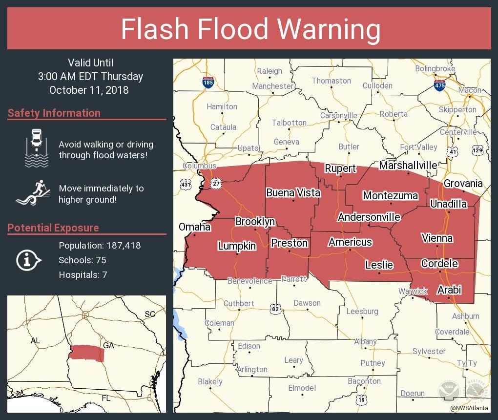 Map Of Vienna Georgia.Nws Atlanta On Twitter Flash Flood Warning Including Americus Ga