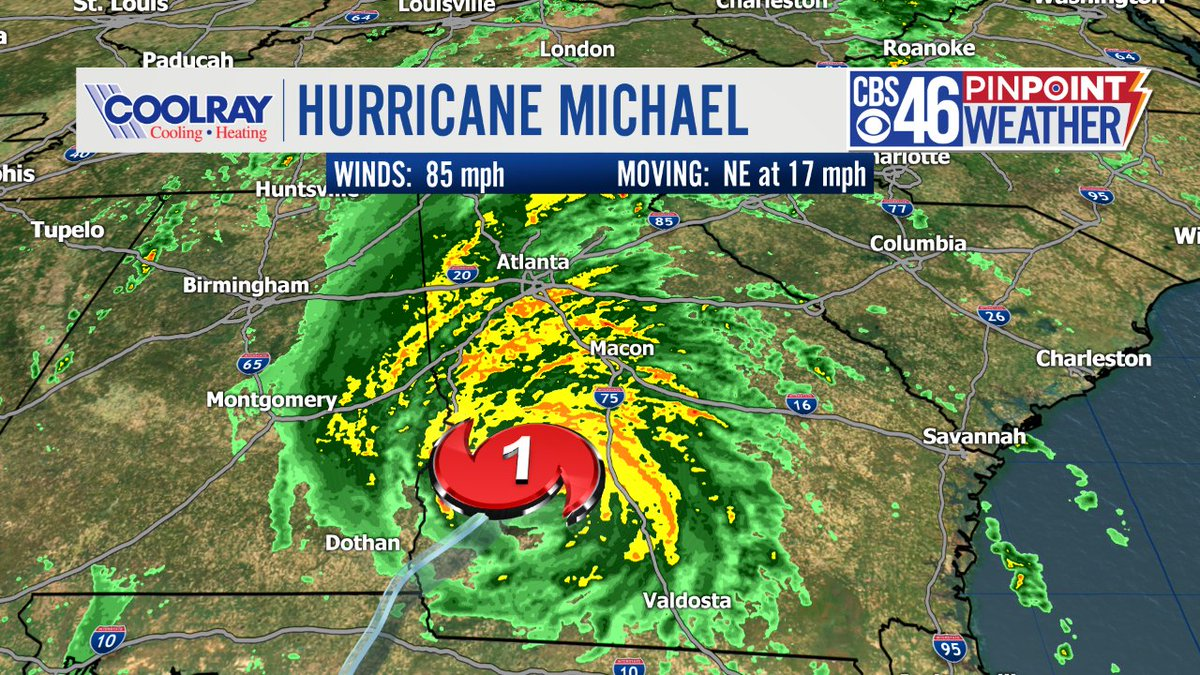 Hurricane Michael has weakened to a Cat 1 via the 9pm update. We are still getting crazy damage reports coming out of South Georgia. This storm will push into South Carolina as a tropical storm by daybreak.