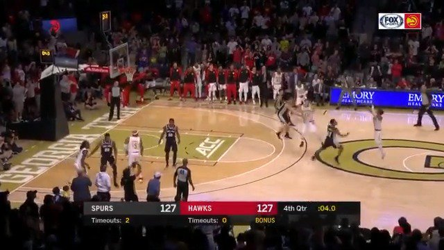 TRAE YOUNG NAILS THE GO-AHEAD TRIPLE FROM THE PARKING LOT! ������  #NBARooks #NBAPreseason https://t.co/xRstckFCr6