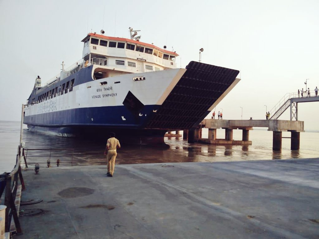 RoPax vessel Voyage Symphony docked at Ghogha for Dahej-Ghogha Ro-Ro ferry service