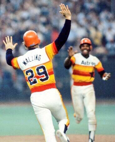 10/10/80 Denny Wallings sac fly to left scores Rafael Landestoy, pinch running at third for Joe Morgan, and seals a 1-0 Astros win over the Phillies in NLCS Game 3. Joe Niekro pitched ten shutout innings as Houston took a 2-1 lead in the series.