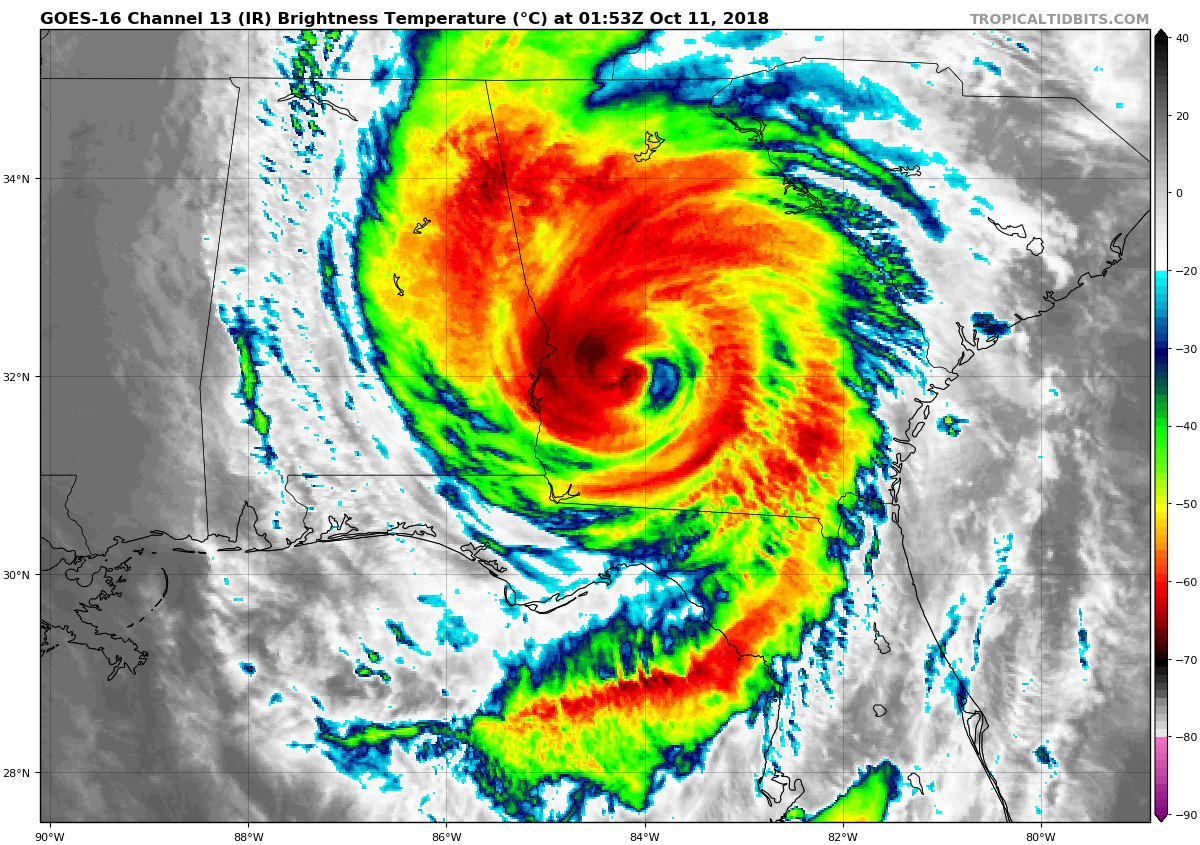 NHC Update, 11pm:  It's nine hours and counting that #Michael has remained a hurricane after making landfall near Panama City, FL. Its center is now about 225 miles inland, just south of Macon, GA. Sustained winds of 75 mph.  What a wild, historic storm.