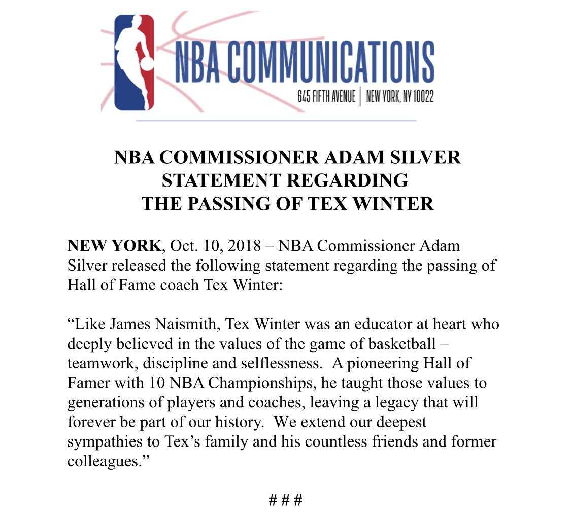 NBA Commissioner Adam Silver released the following statement regarding the passing of Hall of Fame coach Tex Winter <br>http://pic.twitter.com/fzKNUzNsZI