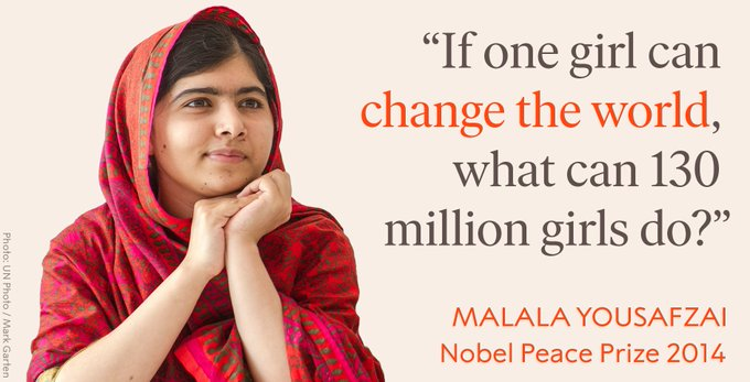 Inspiration from Nobel Laureate @Malala Yousafzai for International Day of the Girl - and beyond. #DayoftheGirl Photo