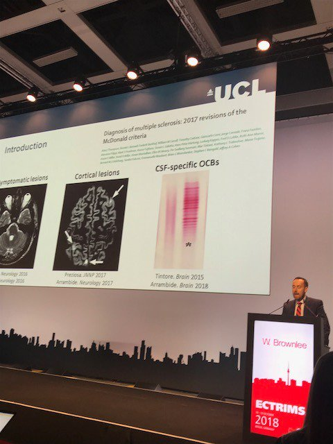 Great presentations from MS team on new diagnostic criteria (Thompson et al Lancet Neurology 2018) - AJT @MSJ_Research @UCLIoN #ECTRIMS2018 <br>http://pic.twitter.com/htt1NYjoqv