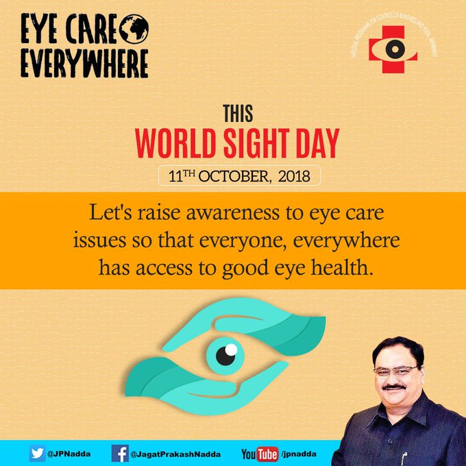 #WorldSightDay is observed to draw attention to eye care issues so that everyone, everywhere has access to good eye health. Under National Programme for Control of Blindness & Visual Impairment, eye care services are available free of cost in all govt. hospitals across country. Photo
