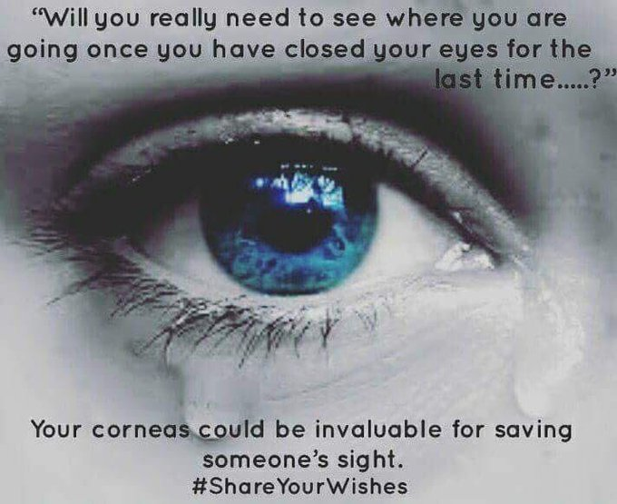 Today is #WorldSightDay. If you required a cornea transplant so you could see would you take one? If you would take one to see, will you agree to donate? People can need cornea transplants for a number of reasons. #ShareYourWishes about your organ & tissue donation decision. Photo