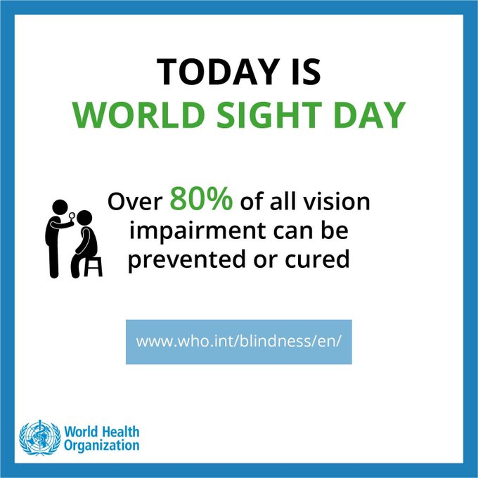 It's #WorldSightDay 👁 today with the theme #EyeCareEverywhere. Globally, an estimated 253 million people live with vision impairment. But more than 80% of all vision impairment can be prevented or cured. Photo