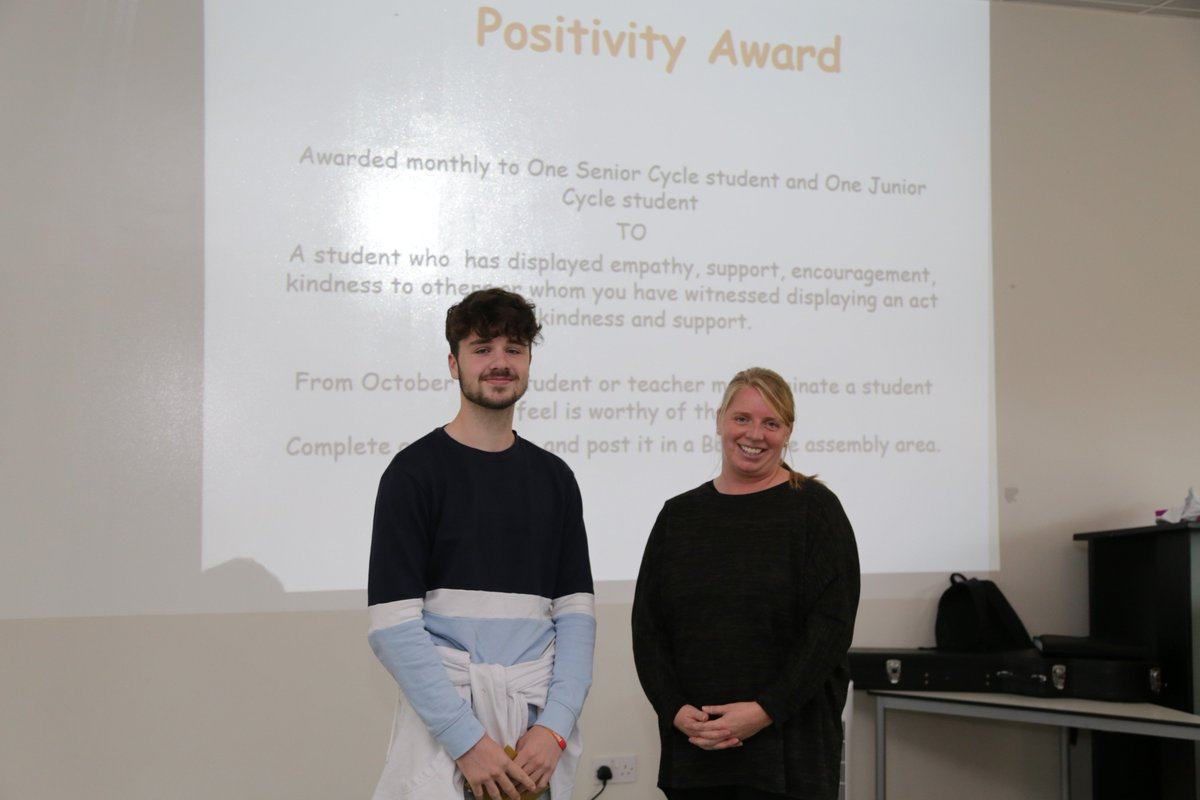 test Twitter Media - A #Wellbeing assembly was held for Junior and Senior Cycle students today. The first two #PositivityAwards were won by Oscar T. in 12th class and Benas in 7th class - well done! #MentalHealthAwareness #MentalHealthWeek https://t.co/n9EmFXvd11